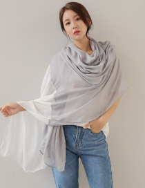 Fashion Gray+white Color Matching Decorated Patchwork Scarf