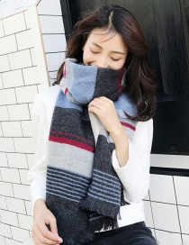 Fashion Gray+blue Stripe Pattern Decorated Thicken Long Scarf
