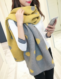 Fashion Yellow Dots Pattern Decorated Thicken Scarf
