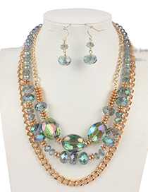 Vintage Green Chains&beads Decorated Jewelry Sets