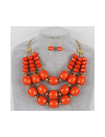 Vintage Orange Pure Color Decorated Beads Jewelry Sets