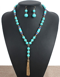 Personality Green Metal Tassel Decorated Jewelry Sets