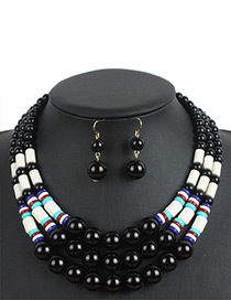 Fashion Black Color-matching Decorated Jewelry Sets