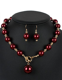 Fashion Claret-red Pure Color Decorated Jewelry Sets