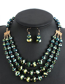 Fashion Green Round Shape Decorated Multilayer Jewelry Sets