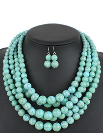 Fashion Green Pure Color Decorated Jewelry Set