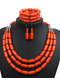 Fashion Orange Pure Color Decorated Jewelry Set ( 3 Pcs)