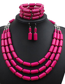 Fashion Plum Red Pure Color Decorated Jewelry Set ( 3 Pcs)