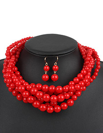 Fashion Red Pure Color Decorated Jewelry Set