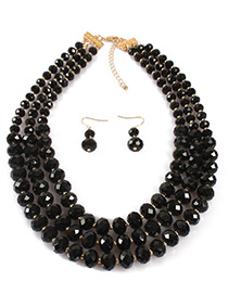 Fashion Black Pure Color Decorated Multi-layer Jewelry Sets