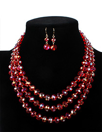 Fashion Red Pure Color Decorated Multi-layer Jewelry Sets