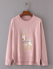 Trendy Pink Deer Pattern Decorated Pure Color Sweater