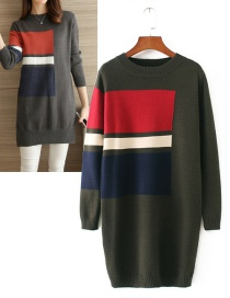 Trendy Dark Green Grid Pattern Decorated Long Sweater(or Dress)
