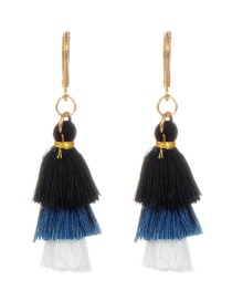 Fashion Black+white Tassel Decorated Umbrella Shape Earrings
