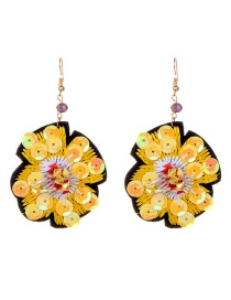 Fashion Yellow Sequins Decorated Flower Shape Earrings