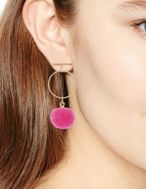 Fashion Pink Fuzzy Ball Decorated Pom Earrings