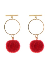 Fashion Red Fuzzy Ball Decorated Pom Earrings