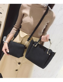 Fashion Black Pure Color Decorated Bag (2pcs)