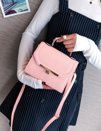 Fashion Light Pink Pure Color Decorated Shoulder Bag