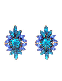 Elegant Blue Color-matching Decorated Earrings