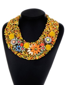 Bohemia Yellow Hand-woven Decorated Pom Necklace