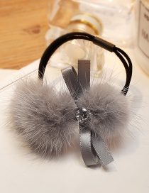 Fashion Light Gray Bowknot&fuzzy Ball Decorated Hair Band