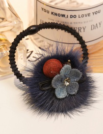 Fashion Navy Flower&fuzzy Ball Decorated Hair Band