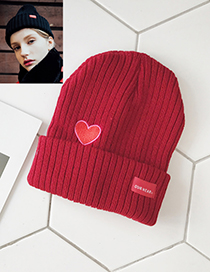 Lovely Claret Red Heart Shape Pattern Decorated Pure Color Cap