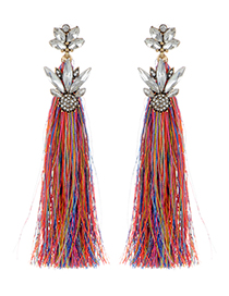 Fashion Multi-color Long Tassel Decorated Simple Earrings