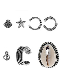 Fashion Antique Silver Star&shell Shape Decorated Earrings ( 7 Pcs )