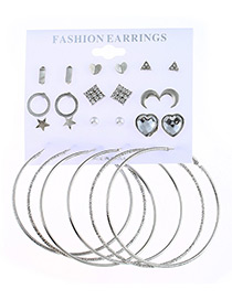 Fashion Antique Silver Star&heart&moon Shape Decorated Earrings ( 24 Pcs )