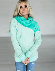 Fashion Blue+green Color Matching Decorated Sweater
