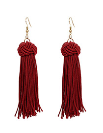Fashion Claret Red Tassel Decorated Earrings