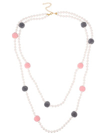 Fashion White Ball Decorated Pom Necklace