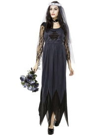 Fashion Black Pure Color Decorated Cosplay Costume