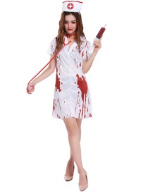 Fashion White+red Color  Matching Decorated Cosplay Costume(with Headdress , dress)