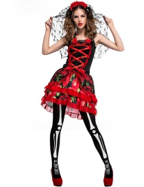 Fashion Red Flower Pattern Decorated Cosplay Costume(with dress and veil)