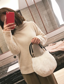 Trendy White Pure Color Decorated Simple Handbag
