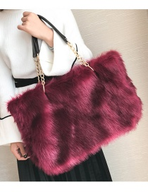 Trendy Claret Red Pure Color Decorated Square Shape Handbag