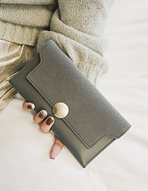 Fashion Light Gray Round Shape Decorated Pure Color Wallet