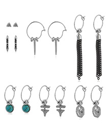 Fashion Silver Color Tassel&bead Decorated Pure Color Earrings(7pcs)