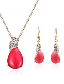 Fashion Plum Red Water Drop Shape Design Jewelry Sets