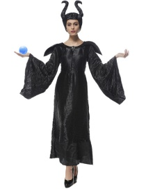 Fashion Black Pure Color Decorated Cosplay Costume(with dress and cap)