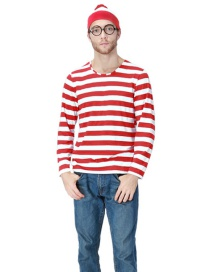 Fashion Red+white Stripe Pattern Decorated Men Cosplay Costume(with Glasses,shirt,cap)