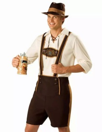 Fashion Coffee+white Pure Color Decorated Cosplay Costume(with Hat,shirt,harness pants)