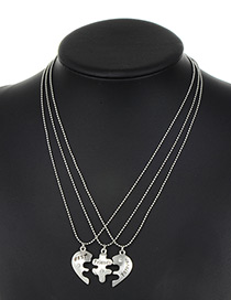 Fashion Silver Color Heart Shape Decorated Necklace ( 3 Pcs)