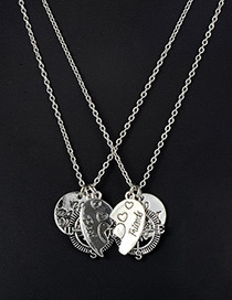 Fashion Silver Color Letter Pattern Decorated Necklace ( 2 Pcs )