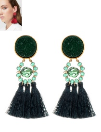 Fashion Dark Green Beads&tassel Decorated Earrings