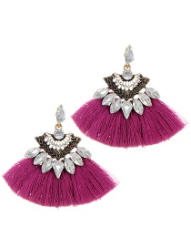 Fashion Plum Red Tassel Decorated Sector Shap Earrings