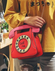 Trendy Red Telephone Shape Design Shoulder Bag